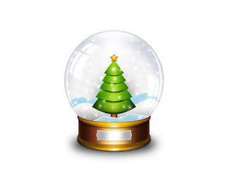 Christmas snow globe with decorated X mas tree in snow desktop background wallpaper