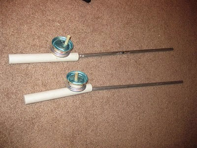 diy ice fishing poles, aluminum, pvc