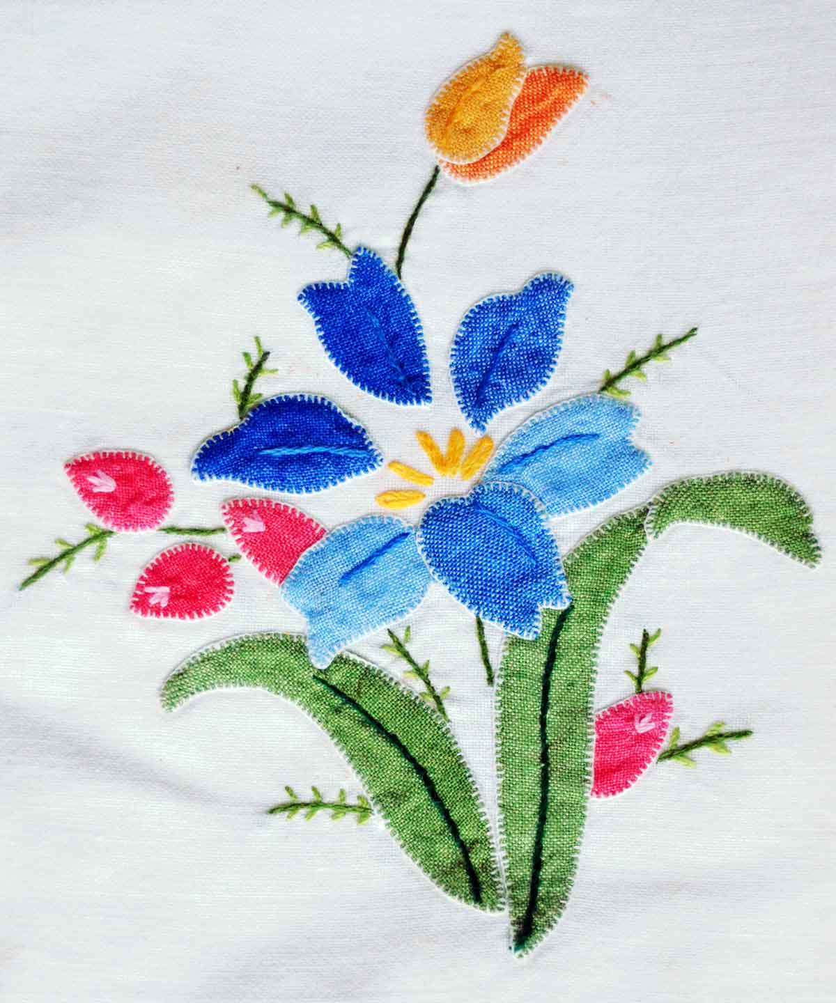 blanket stitch applique needlework flowers vintage