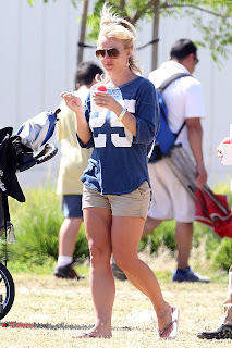 Britney Spears Pictures in Shorts at her Son Soccer Game in Woodland Hills