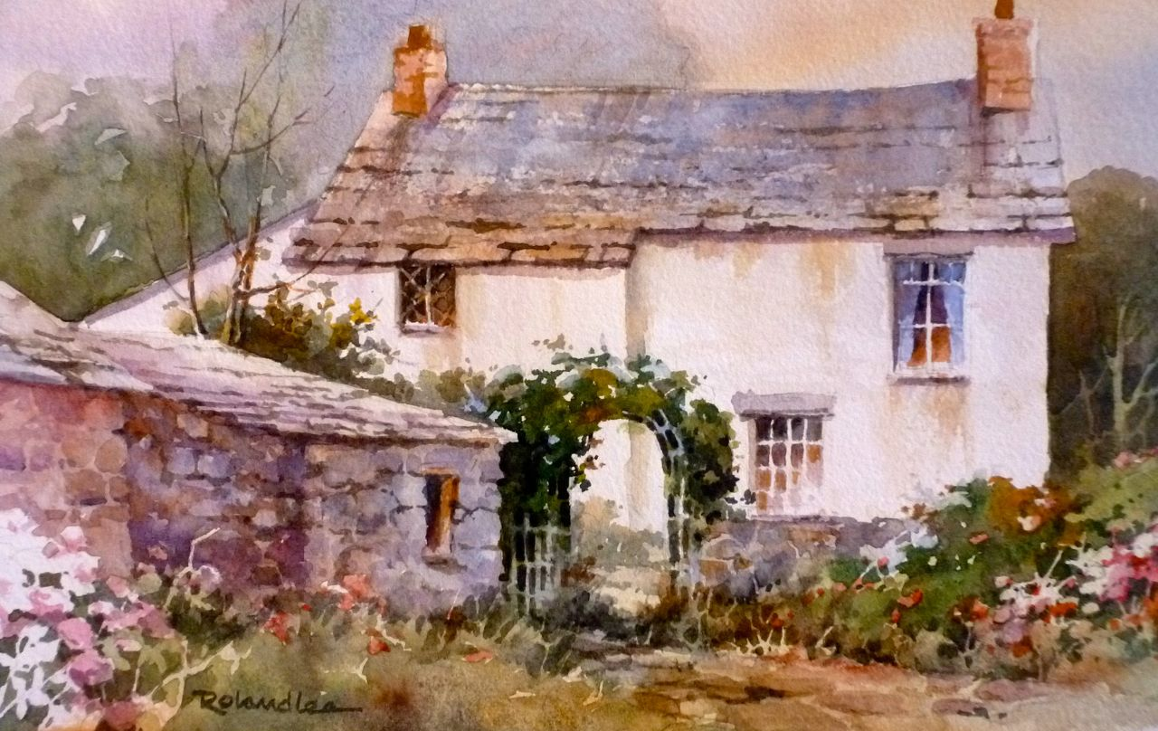 roland lee travel sketchbook painting english cottages in