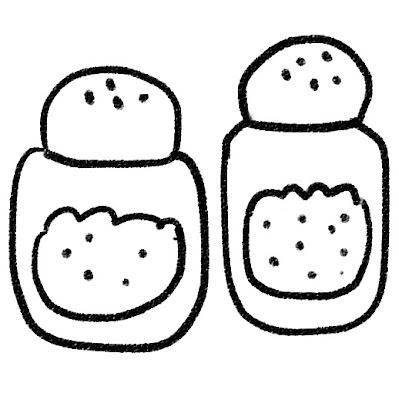 塩とコショウのイラスト モノクロ線画