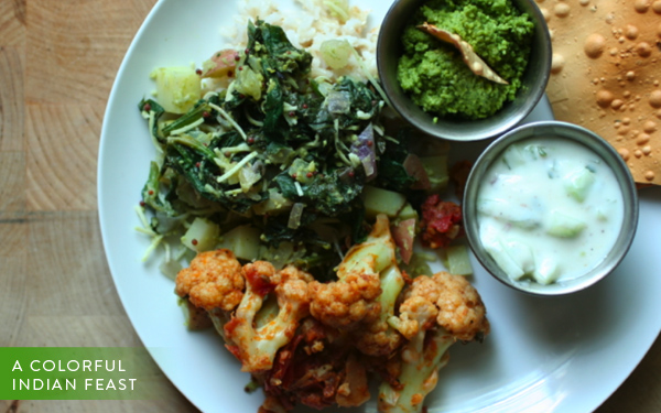 a colorful indian feast