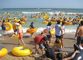 praia lotada na china
