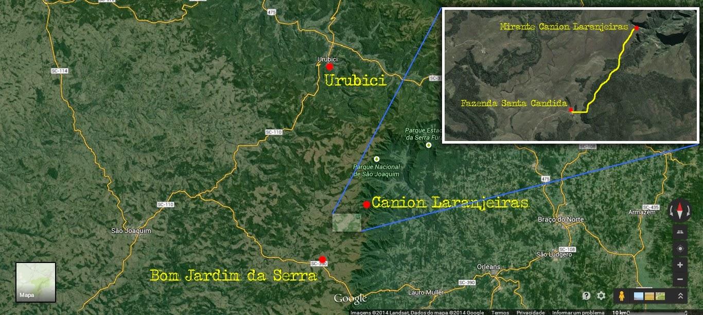 Mapa de Urubici ao Cânion Laranjeiras