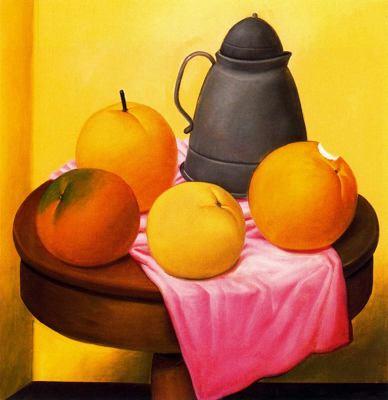 Naturaleza muerta con frutas. Fernando Botero Botero,+Naturaleza+Muerta+con+Frutas,+1989