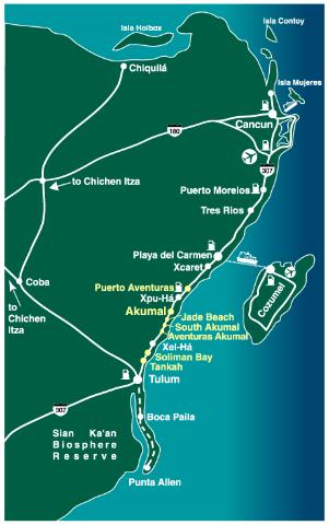 Property in the Myan Riviera, Mexico: Map of Mayan Riviera