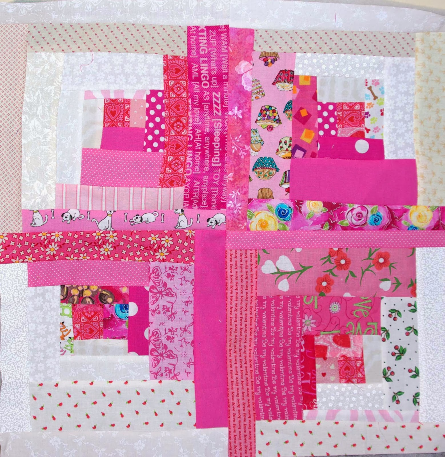 Very Impressive portraiture of Sane Crazy Crumby Quilting: From Whence Did These Pink Scraps Come? with #B01B38 color and 1558x1600 pixels