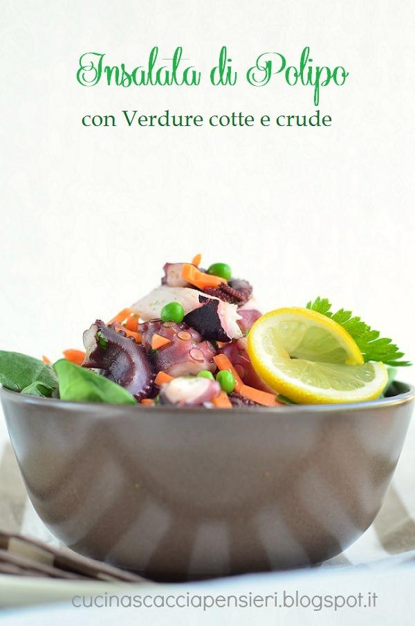 insalata di polipo con verdure cotte e crude