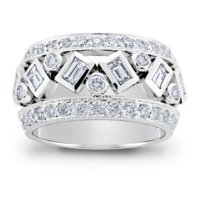 Wide Band Diamond Rings for Women