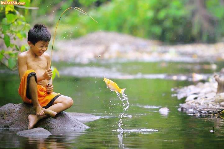 """Chùm hình ảnh đẹp nghệ thuật về """"tuổi thơ tôi"""" câu cá"""