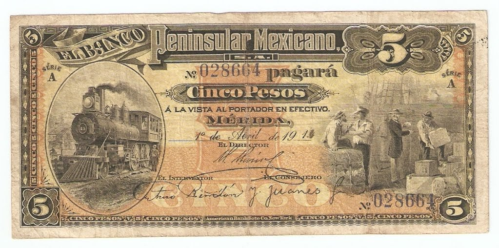 Mexico Banknotes 5 Pesos Of 1914 El Banco Peninsular