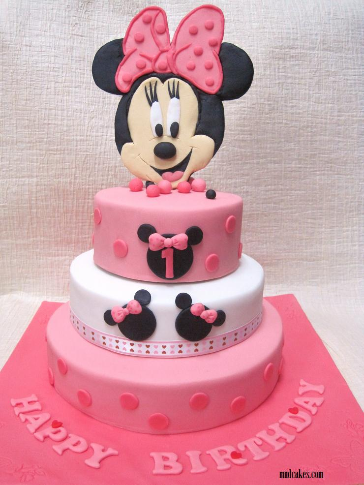Mom And Daughter Cakes 3Tiered Minnie Mouse Cake For 1st Birthday