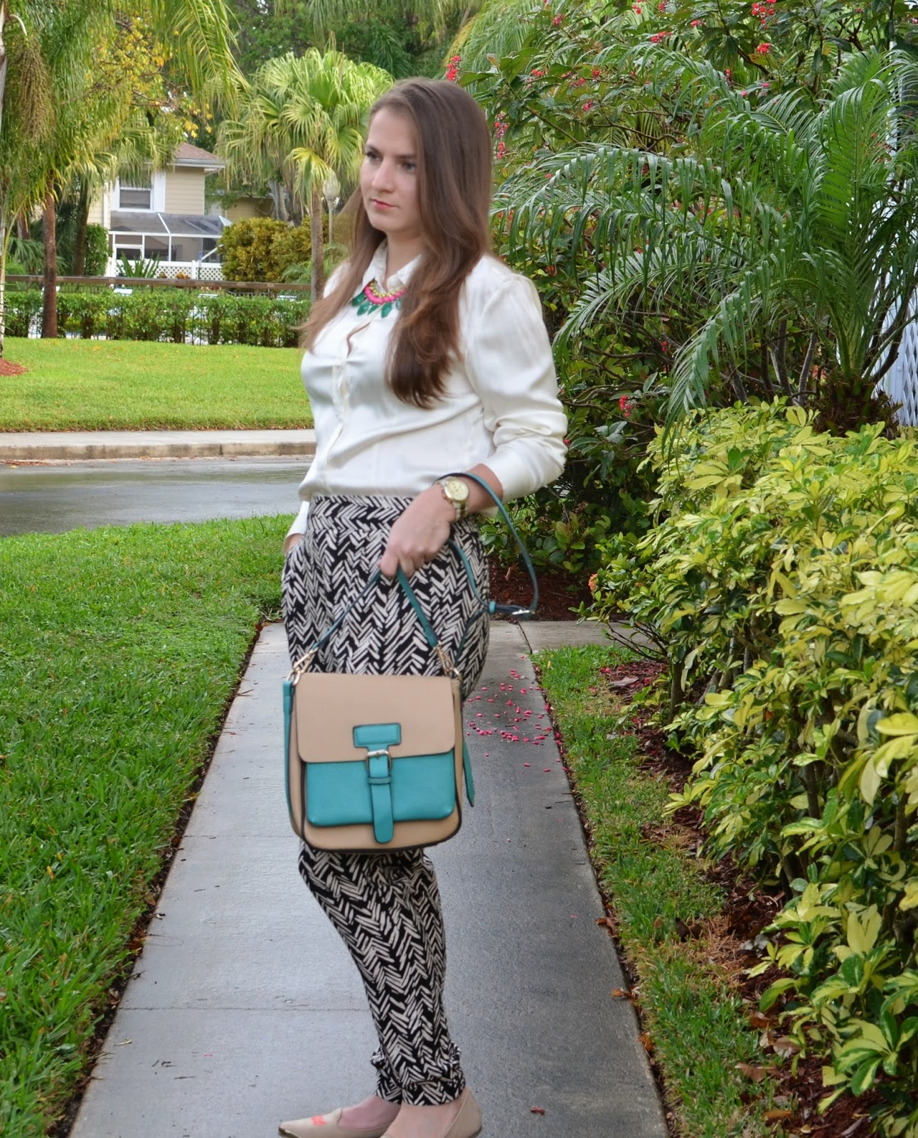 Chevron pants - crossbody - silk blouse - nude flats