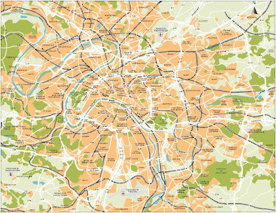 Low resolution map of Paris, France