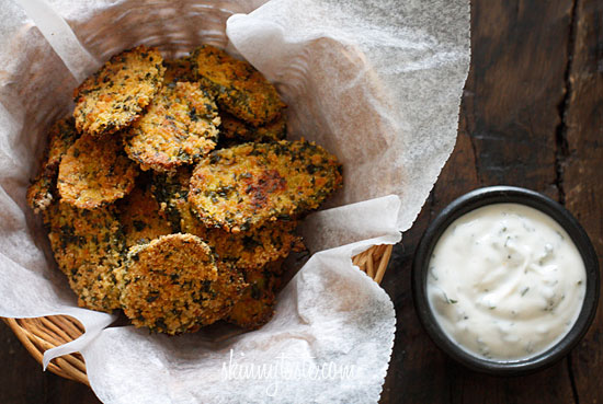 "Oven ""Fried"" Pickles with Skinny Herb Buttermilk Ranch Dip ..."