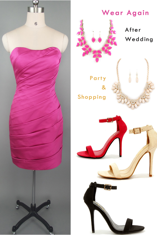 Fuchsia Strapless Short Bridesmaid Dress