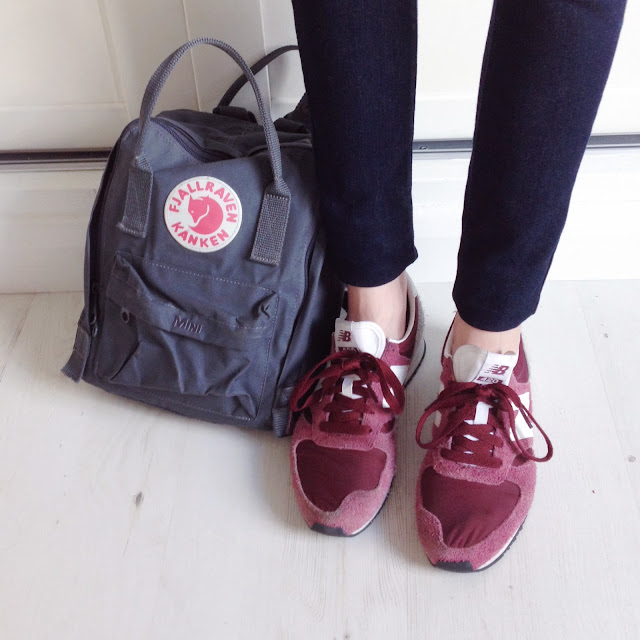 burgundy new balance, granite kanken mini