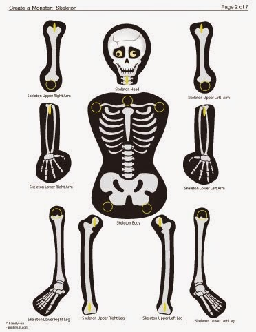 peças montáveis de esqueleto dia das bruxas
