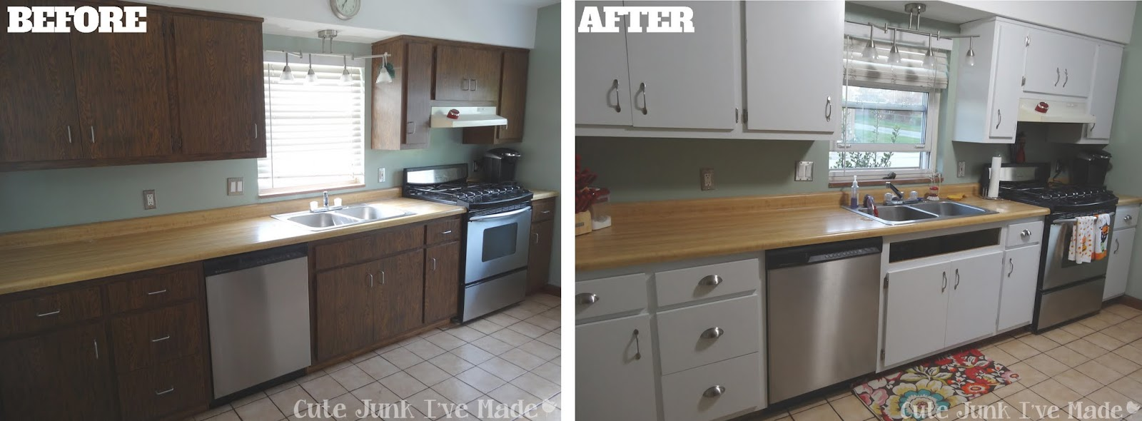 cute junk i 39 ve made how to paint laminate cabinets part ForBefore And After Pictures Of Painted Laminate Kitchen Cabinets