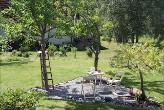 Oas, trädgråd, grus, plommonträd