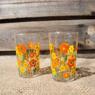 Verres à eau vintage - fleurs orange & jaune - 70's