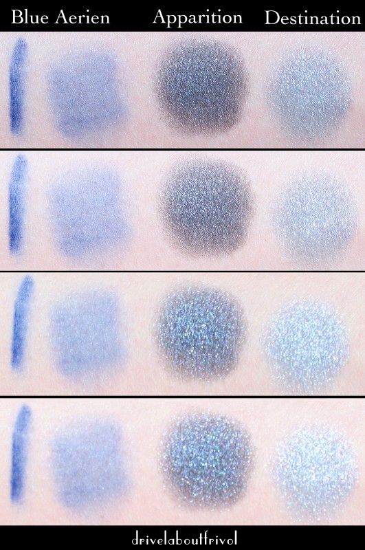 swatches Chanel Blue Aerien Illustion D'Ombre Apparition Destination