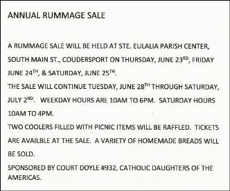 Starting 6-28 thru 7-2 St. Eulalia Annual Rummage Sale