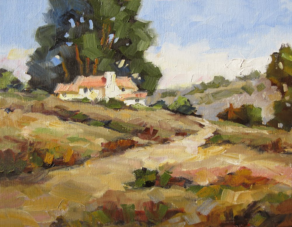 Tom brown fine art large scenic house tree oil for Oil paintings of houses