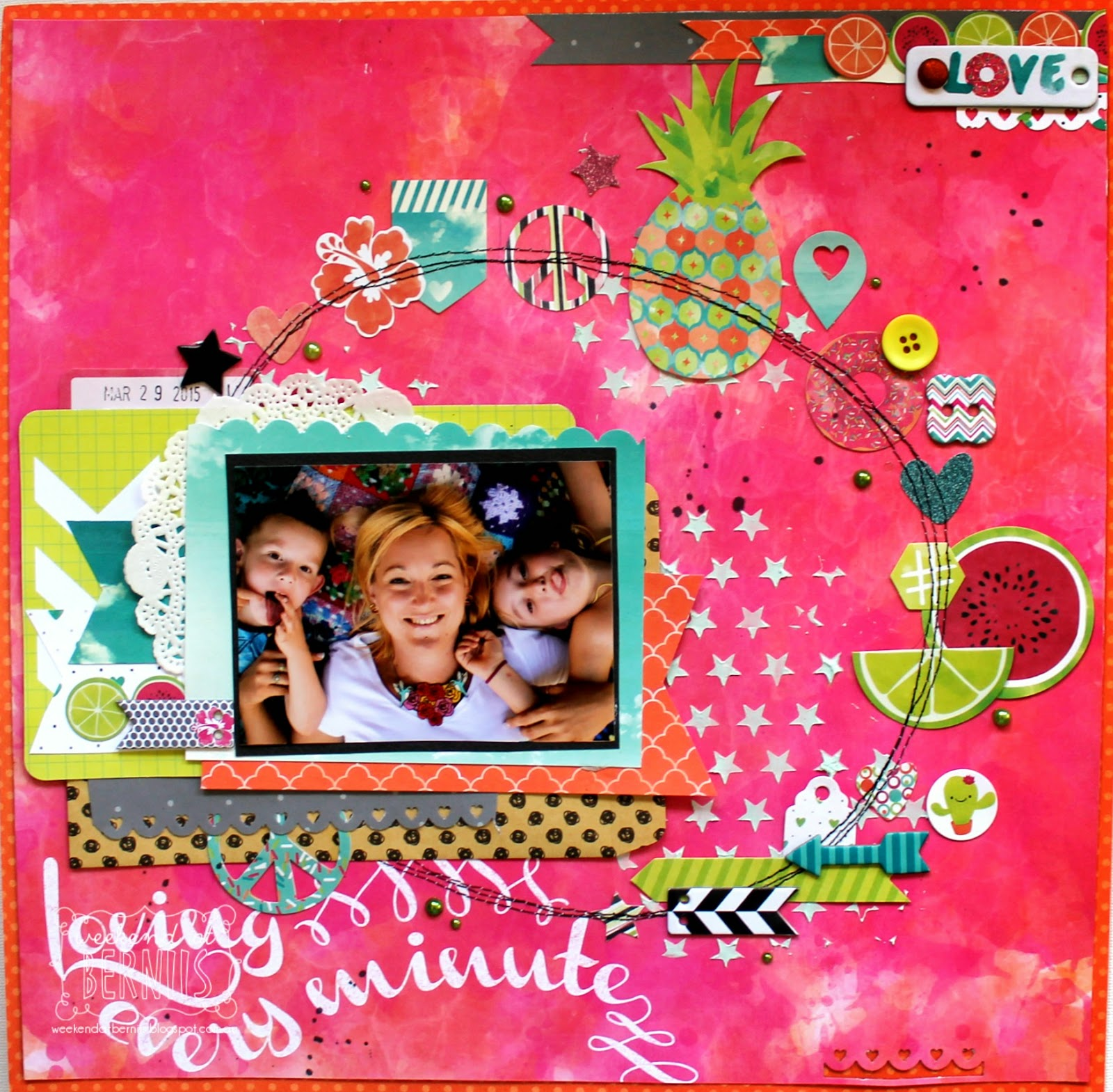 Loving every minute layout by Bernii Miller for BoBunny using the Forever Young Collection.