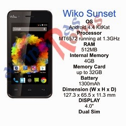 Wiko Sunset specs and stock rom download