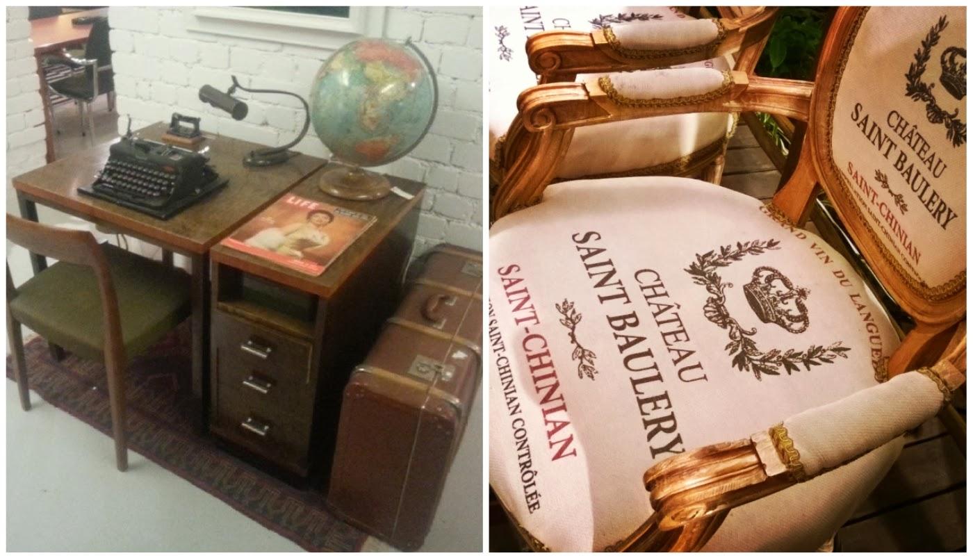 mesa, cadeira e itens de escritório vintage @etxekodeco e cadeira très chic @carina_pe