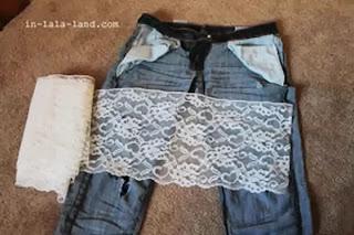 Customizar calça jeans com renda passo a passo