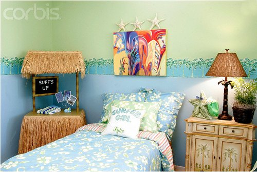 tropical beach style bedroom decorating ideas beach bedrooms surfer theme rooms tropical theme - Ideas For Bedroom Decorating Themes