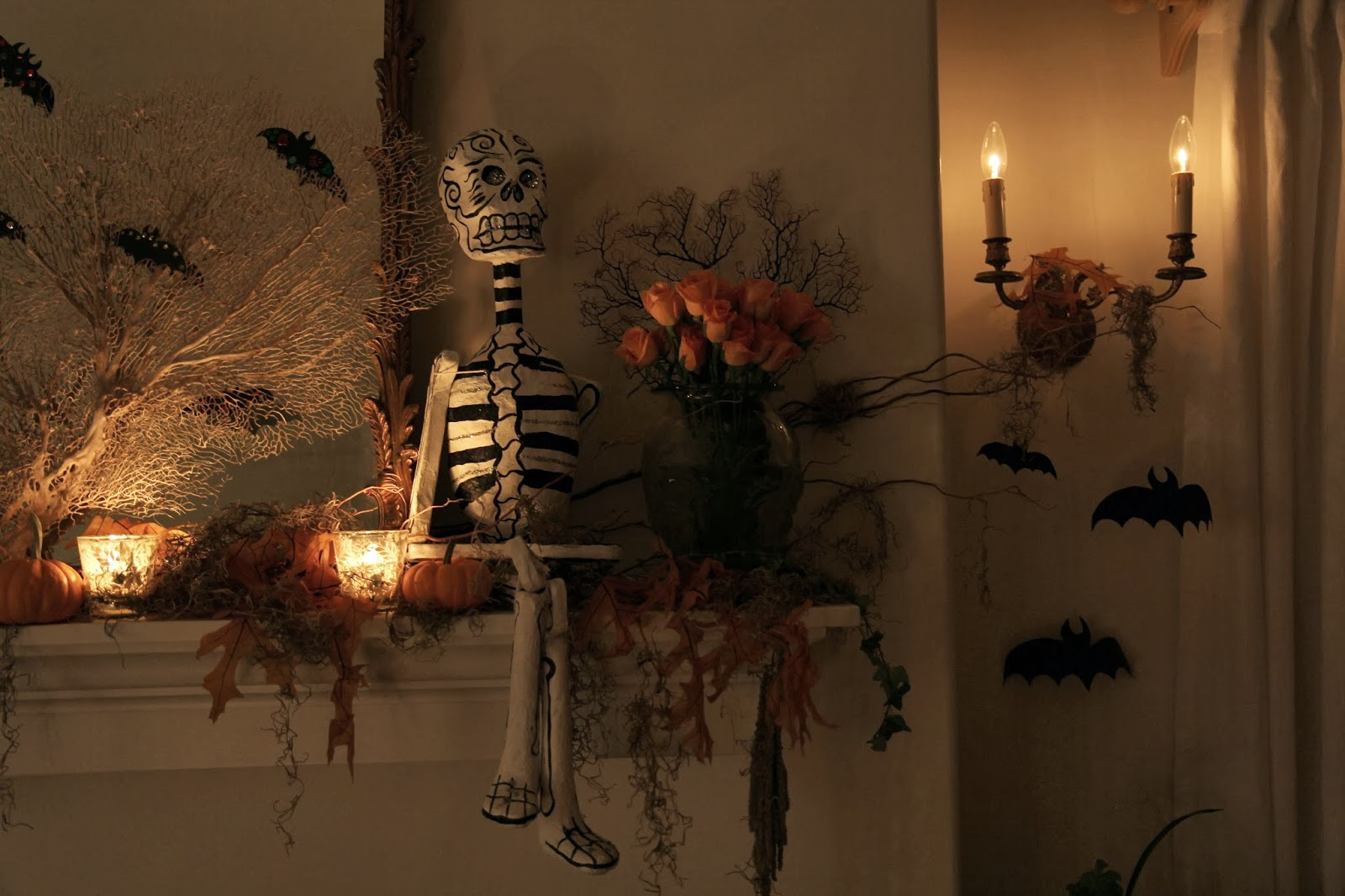 Mantle with Skeleton; Hauntify Your House for Halloween