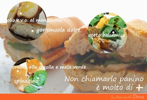 #panini con crema di peperoni cipolla e mele verde con spinacino gorgonzola dolce ed aceto balsamico
