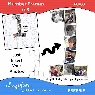 Photo Number Frame Freebie CU/PU