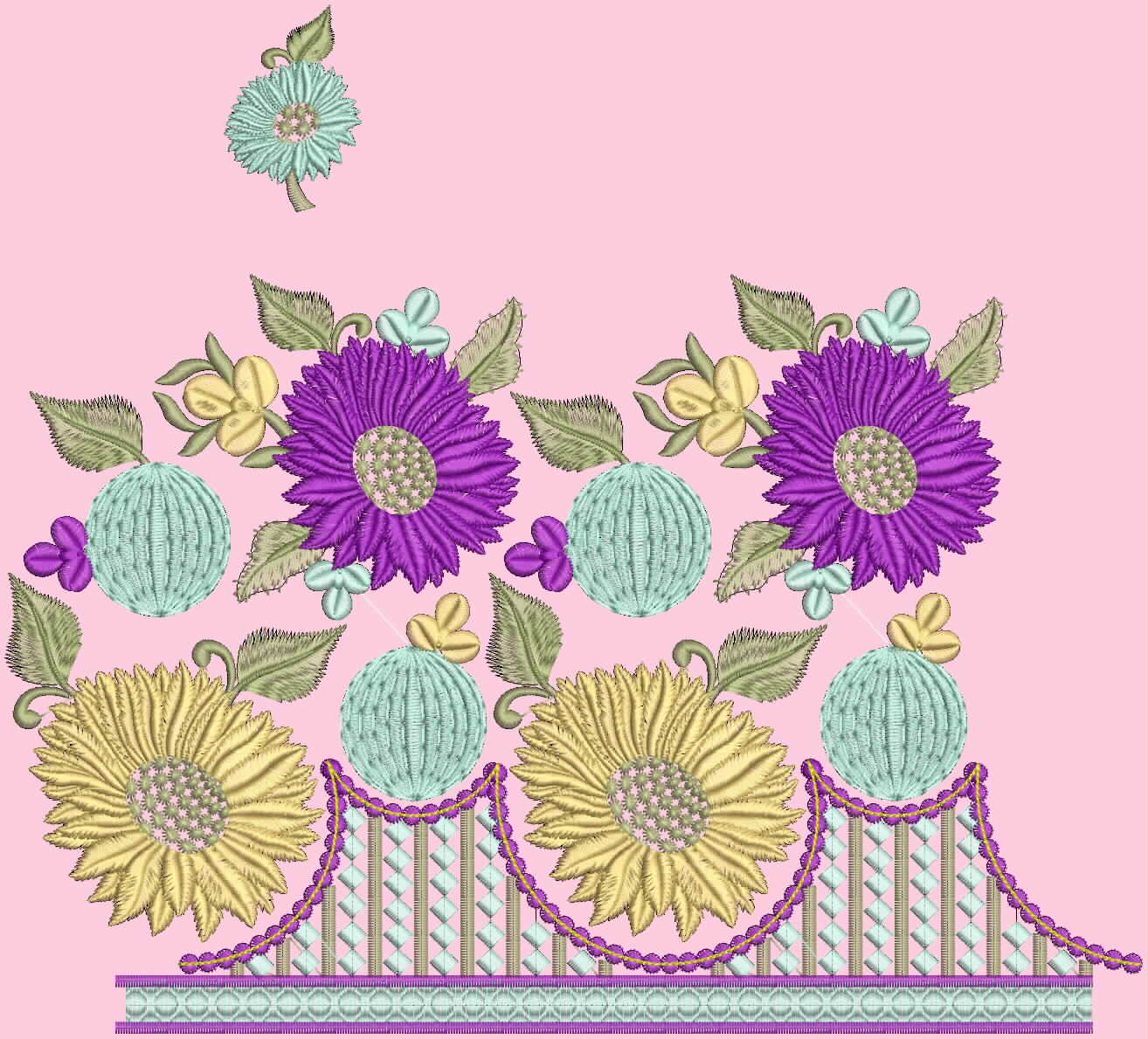 The fresh and new computer embroidery design for wonderful floral and