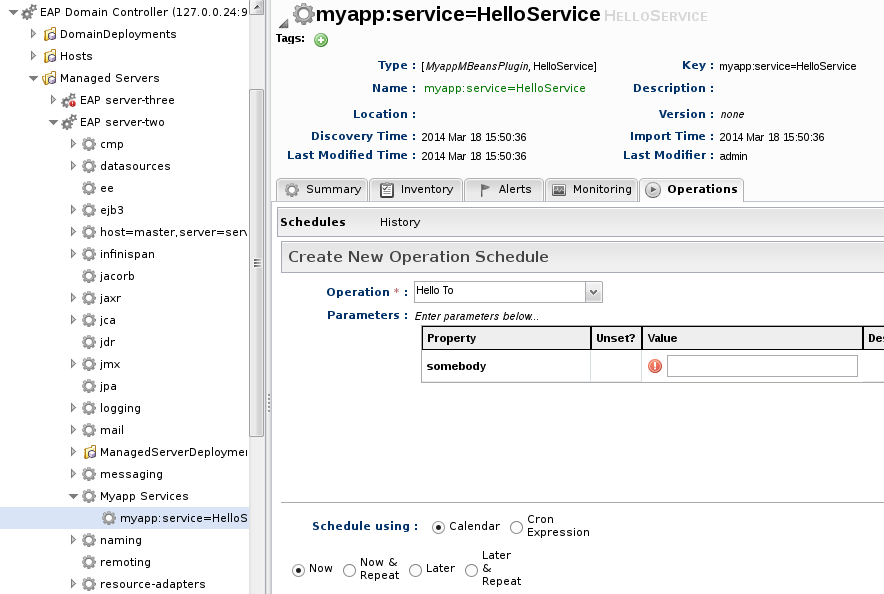 "Creating an ""Hello Service"" operation, on a managed server (domain mode)"