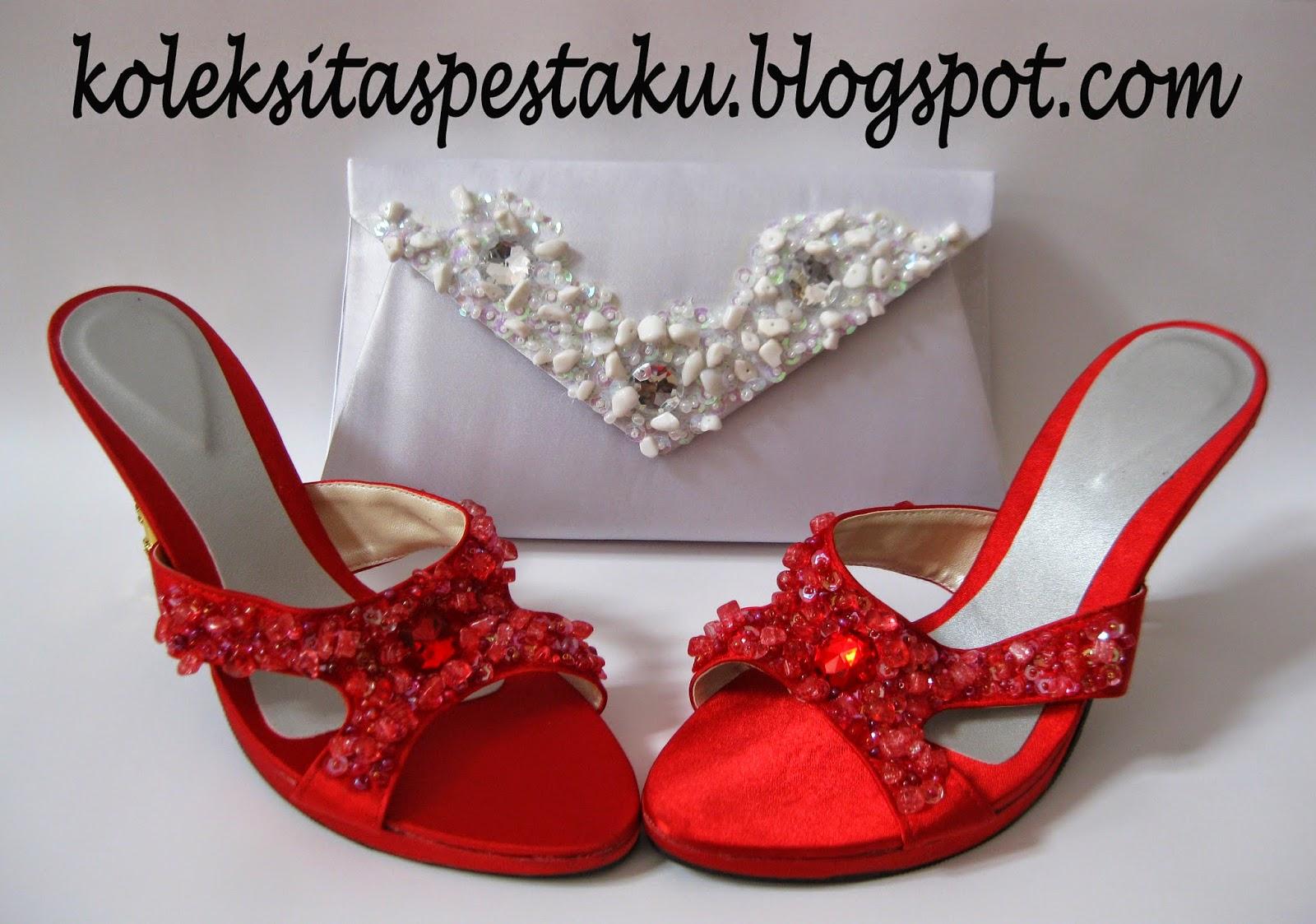 merah putih tas pesta cantik dan sepatu