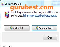 disk defragment on computer