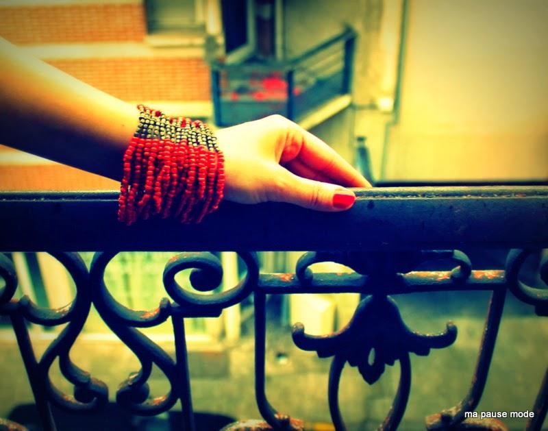 bracelets rouge perles