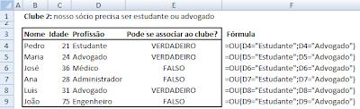 Fórmula OU - Excel