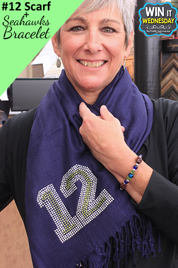 Win this #12 Scarf and Football Bracelet. Perfect for Seahawks fans!