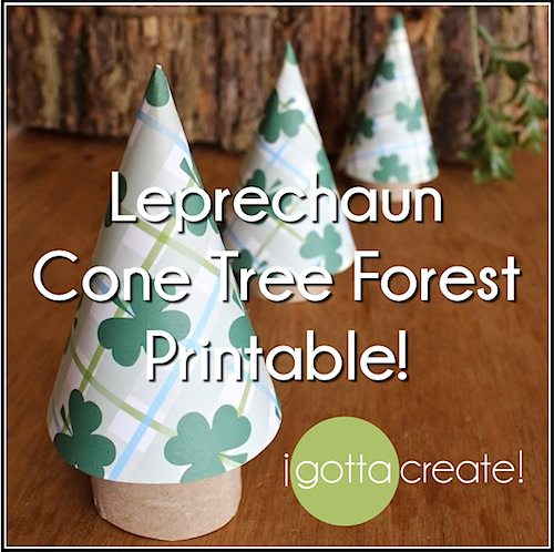 #Leprechaun cone tree forest free #printable for St. Patricks Day. | Compliments of I Gotta Create!