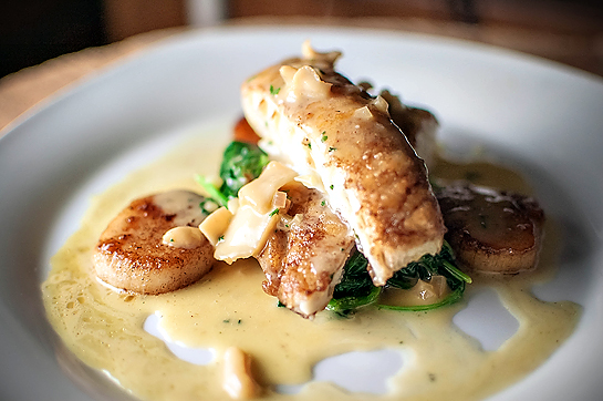 Feeding Andy Halibut W Spinach Scallop Citrus Beurre Blanc