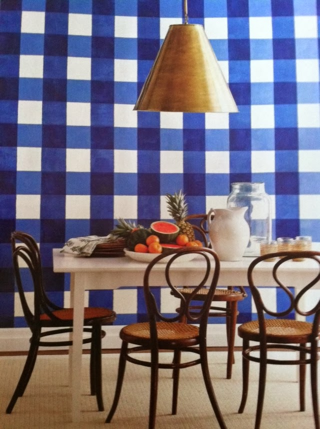 Bold BC Scale And Color In The Wallpaper Mixed With Funky Light Fixture  Creates A Lively Dining Space