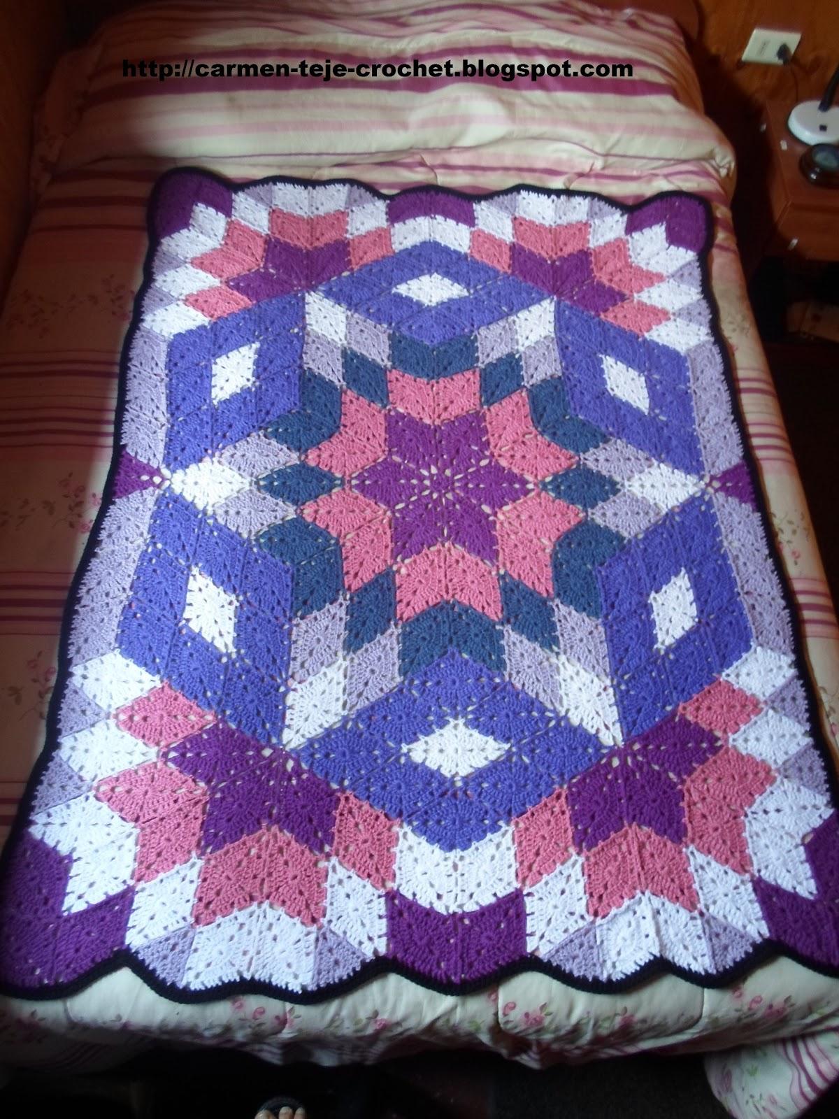 Tejiendo crochet y m s manta con rombos - Mantas lana ganchillo ...