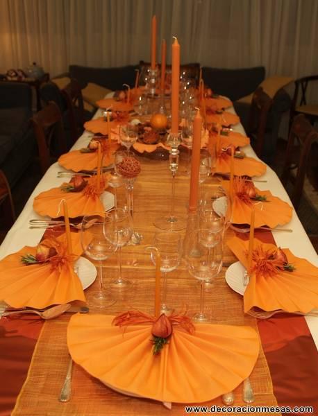 Decoracion de mesas mesa de navidad en naranja - Decoracion navidad mesa ...