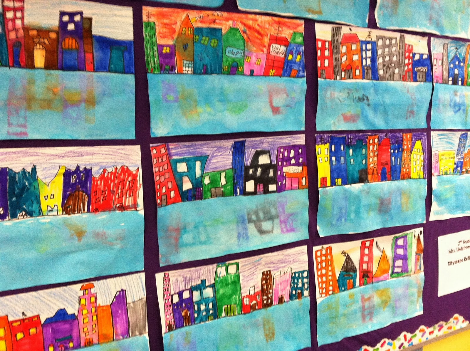 Wahoo for Art!: Second Grade Cityscape Reflections